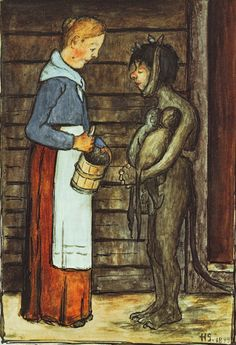 Hugo Simberg - The Farmer's Wife and the Poor Devil, 1899 Different Kinds Of Art, Digital Museum, Unusual Art, Vintage Artwork, Macabre, Figurative Art, Les Oeuvres, Art Pictures, Fantasy Art
