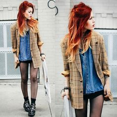 love the vintage blazer Punk Fashion, Grunge Fashion, Diy Fashion, Fashion Outfits, Womens Fashion, Street Fashion, Look Rock, Her Style, Cool Style
