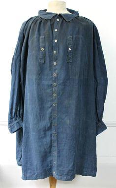 Vtg French Indigo Blue Linen Coat Smock Biaude Farmer Chore 1900's Hobo Antique | eBay