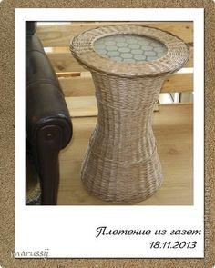 Интерьер Плетение Плетёный столик Трубочки бумажные фото 1