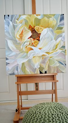 $1,950. 76 x 76 cm. Deep Edge Canvas (3.5cm) Acrylics on canvas with oil glaze.A sensuous giant white dahlia study. The second in this