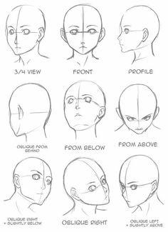 Gesicht zeichnen, aus verschiedenen Blickwinkeln, Anime Mädchen zeichnen, schwarz und weiß, B… - アートブログ 2020 Easy Pencil Drawings, Pencil Sketch Drawing, Sketch Art, Pencil Art, Drawing Drawing, Girl Face Drawing, Anime Face Drawing, Woman Drawing, How To Draw Manga