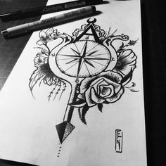 Gemini Soul, #dark #dead #ink #tatto #geminitatto #babe #soul #art #black #white #compass #flowers #nature #echo #roses