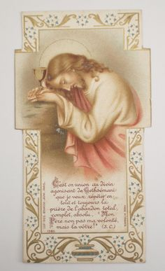Vintage French Holy Card by NotreDameDeParis on Etsy.... I don't remember my high school French, so I'll need to check google translator. (I just haven't seen a picture like this one.)
