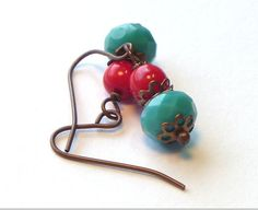 Aqua and Red Earrings  Vintage colors  Dainty by TheBeadedCottage, $8.00