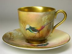 Royal Worcester Lady Amherst's Pheasant Cup and Saucer - Artist: Unknown (Unsigned)