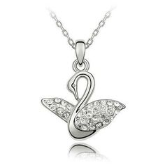 Silver Tone White Gold Swarovski Style Crystal Swan Pendant Necklace SWAROVSKI ELEMENTS. $15.99. Arrives in a neat velvet pouch. All merchandise under full warranty. Ships from New York City. Jewel quality, optically flawless crystals. Ready to wear with matching chain necklace