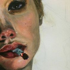 Portrait with cigarette, painting Art Sketches, Art Drawings, Hipster Drawings, Love Art, Art Inspo, Painting & Drawing, Smoke Drawing, Smoke Painting, Drawing Eyes