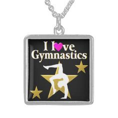 GOLD STAR GYMNAST SQUARE PENDANT NECKLACE #Gymnastics #Gymnast #IloveGymnastics #Gymnastgifts #WomensGymnastics #personalizedgymnast #Customgymnast #Addnamegymnast