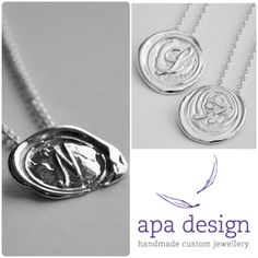 Apa Design sterling silver handmade custom made signet wax seal necklaces and cuff links make wonderful gifts for the holiday! Order by Dec 14th to have them under the tree by Christmas. Give the gift of handmade this holiday season.  Contact Andrea to order: aapa@apadesign.ca  www.apadesign.ca Fine Jewelry, Jewellery, Wax Seals, Handmade Silver, Custom Jewelry, Holiday, Christmas, Cufflinks, Jewelry Design