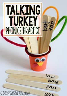 "Thanksgiving is just around the corner, so to add a little fun to our phonics mini-lessons I decided to create our ""Talking Turkey"" cup, add some sticks with the word patterns we are practiced and we are ready for some phonics fun. Autumn Activities For Kids, Preschool Activities, Speech Activities, Preschool Phonics, Phonics Worksheets, Language Activities, Preschool Art, Preschool Learning, Therapy Activities"