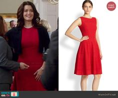 Mellie's red textured dress on Scandal.  Outfit Details: http://wornontv.net/46479/ #Scandal