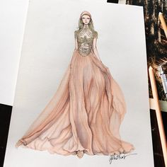 9,945 отметок «Нравится», 95 комментариев — Eris Tran (@eris_tran) в Instagram: «Inspired by @marchesafashion fall winter 2018. Such a wonderful dress . #sketch #sketching #drawing…»
