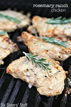 Grilled Rosemary Ranch Chicken on SixSistersStuff.com - just a handful of ingredients you probably have on hand makes this the BEST grilled chicken ever!