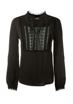 VERONIQUE BRANQUINHO Veronique Branquinho Black Silk And Embroidered Lace Top. #veroniquebranquinho #cloth #