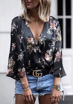 Maglietta fiori stampare profonda scollatura moda nero