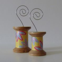 Make from vintage spools to hold pricing!