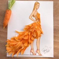 Dress made of carrot slices by Edgar Artis