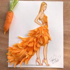 Dress made of carrot slices by Edgar Artis