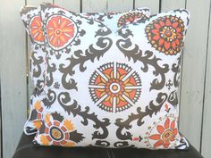 Ikat pillow cover, orange and grey cushion 20x20, Suzani throw pillow, pillow with piping