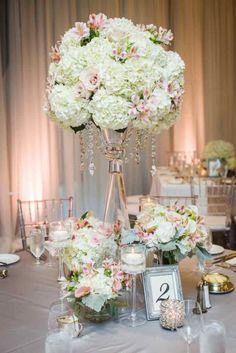 Wedding reception centerpiece idea; Featured photo: John Bello Photography; Coordinator: DreamGroup Productions