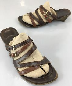 "Think! Womens 38 EU 7.5 US Brown Leather Strappy Slides Sandals 1.5"" Heels #Think #Slides #Casual"