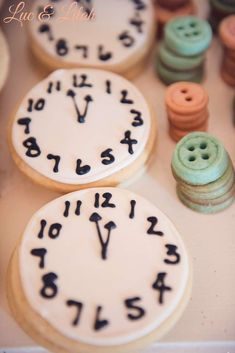 Clock cookies at a Cinderella ballet birthday party! See more party planning ideas at CatchMyParty.com!