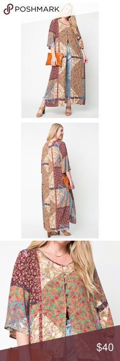 Women's Bohemian Gypsy Maxi Button Down Kaftan Very lightweight and beautiful, gauzy fabrication, this maxi length kaftan shirt features front and side slits,  top button closure and a beautiful gypsy floral pattern. Loose dolman sleeves for an easy, effortless fit. Unlined.  Available in two colors Blue and Wine.  100% Rayon Hand Wash Cold Plus Sizes Available Boutique Tops