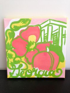 Lilly Pulitzer State of Mind Inspired Painted Canvas on Etsy, $15.00