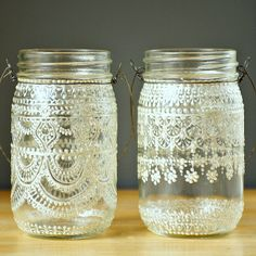 Hand Painted Mason Jar Moroccan Lantern, Henna Inspired Design in White Pearl - on Crystal Clear Glass. $28.00, via Etsy.