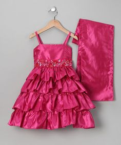Take a look at this Fuchsia Tiered Dress & Shawl - Girls by Sophia Young on #zulily today!