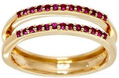 Affinity Diamond Jewelry As Is Ruby Ring Guard, 14K Gold, .20 cttw by Affinity
