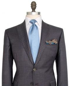 Image of Brioni Blue and Chocolate Check Sportcoat