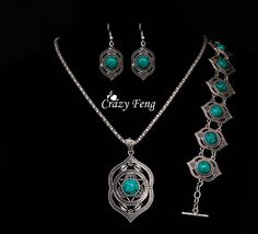 High Quality Turquoise Pendant Bracelet Earrings Jewelry Sets Tibetan Silver Plated Fashion Jewelry Set for Women Free Shipping