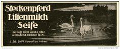 Original-Werbung/Inserat/ Anzeige 1912 - STECKENPFERD LILIENMILCH-SEIFE / MOTIV SCHWÄNE - ca. 50 x 135 mm