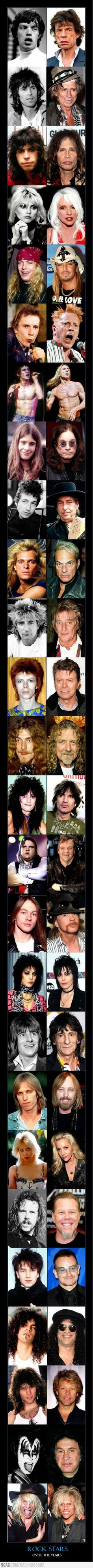 aging timeline — 26 rock stars, then and now Musical Aging Timeline — 26 rock stars, then and now. (Click pic for full size viewing).Musical Aging Timeline — 26 rock stars, then and now. (Click pic for full size viewing). Music Love, Music Is Life, Rock Music, My Music, Beatles, Pop Rock, Rock N Roll, Musica Popular, Stars Then And Now