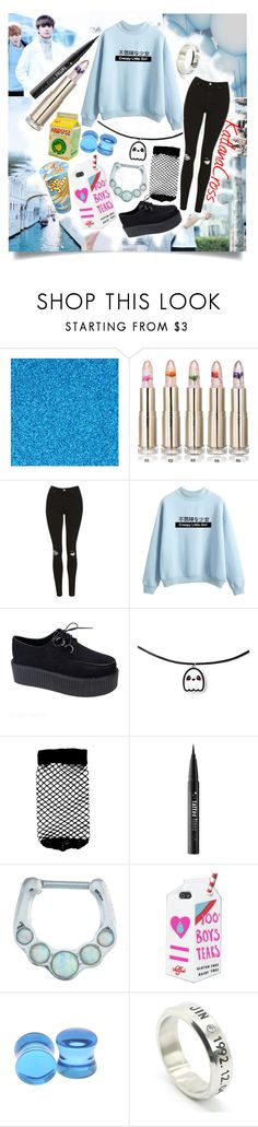 """""Those dimples are illegal. No, it's dangerous, oh yes. So I call you illegirl, your existence is criminal"""" by katlanacross ❤ liked on Polyvore featuring Topshop, ASOS, Kat Von D, Valfré and Hot Topic"