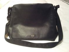 Hugo Boss Men's Black Leather Messenger Bag