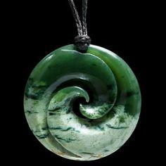 Maori style jade Koru pendant by Ross Crump