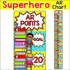 Superhero Theme Accelerated Reader Chart: This fun superhero theme accelerated reader clip chart will help encourage your students to meet their AR goals. Your students will be excited to climb the AR points ladder and get to the top of the stack of books!This product can be purchased at a discount of 60% off as part of my Superhero Kids Theme Decor Bundle Part 2.This product is an editable PowerPoint file so please be sure that you have PowerPoint software before making your purchase.
