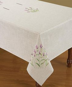 Look at this Beige & Lavender Embroidered Linen Tablecloth on #zulily today!