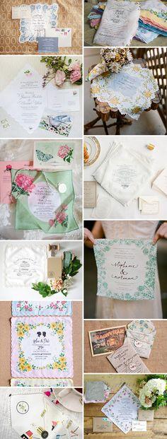 Keep sake Handkerchief Wedding Invitations   See more on www.onefabday.com