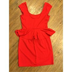 Red Peplum party dress Super cute peplum party dress, scoop neck with a lower scoop in the back. Worn once for a stoplight party! Dresses