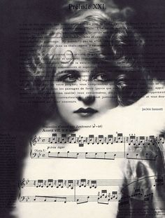Music Sheet,French.Print.Gift. Roaring Twenties Woman,Special.Eco.100% recycled paper