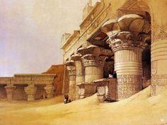 Temple of Horus, Edfu, from Egypt and Nubia, Painting by David Roberts. Egyptian Temple, Egyptian Art, Ancient Ruins, Ancient Egyptian Architecture, Gustave Dore, New York Public Library, Canvas Prints, Art Prints, Archaeology