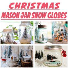Learn how to make mason jar snow globes-- the perfect Christmas craft idea using jars, and excellent handmade gift ideas! 5 Ways to Make Snow Globes in Mason Jars for Christmas | via putitinajar.com