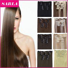 """21 Kleuren 150g 22 """"7 stks/set Synthetische Clip In Hair Extensions Hittebestendige Haarstukje Lange Rechte Natuurlijke Haar Extension 777"""