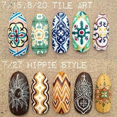 Super Cute Ideas for Summer Nail Art - Nailschick Pretty Nail Art, Beautiful Nail Art, Cool Nail Art, Quilted Nails, Mandala Nails, Uñas Fashion, Tribal Nails, Modern Nails, Japanese Nail Art