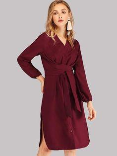 fcb539856c7 Socialite Rusty Rose and White Polka Dot Wrap Midi Dress