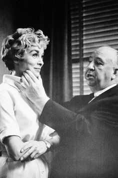 Janet Leigh and Alfred Hitchcock on the set of 'Psycho', 1960.